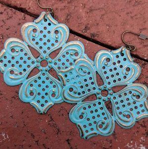 Flat Brass + Turquoise Medallion Earrings